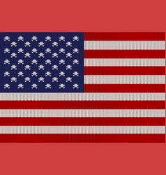 Flag of the united states on knitted texture vector