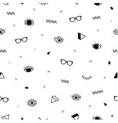 Glasses eyes seamless pattern on white background vector
