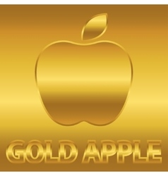 Golden apple symbol with gold text vector image
