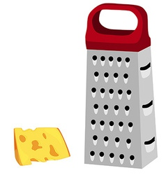 Grater with red handle and cheese vector