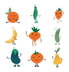 Happy farm vegetables characters collection vector image