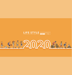 happy new year 2020 logo line text design vector image