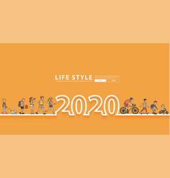 Happy new year 2020 logo line text design vector