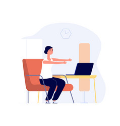Home training woman work with laptop office vector