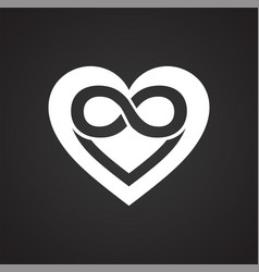 Infinity heart icon on black background for vector