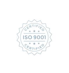 Iso 9001 badge design label on white vector
