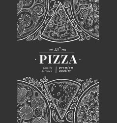 Italian pizza banner template hand drawn vintage vector