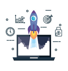 laptop with rocket and business set icons vector image
