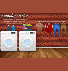 Laundry service design with washing machines vector