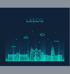 leeds west yorkshire england linear style vector image