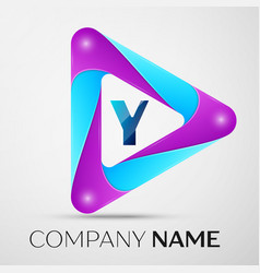 letter y logo symbol in the colorful triangle on vector image