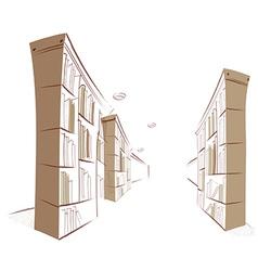 Library bookshelf vector