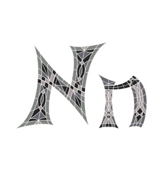 Low poly letter n in gray mosaic polygon vector