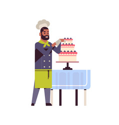 Male professional chef pastry cook decorating vector