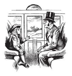 Man child on train vintage vector