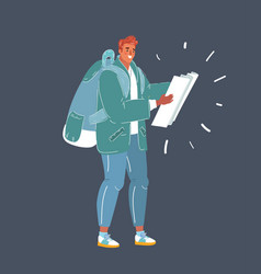 man with map with backpack in his hands on dark vector image