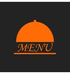 Menu text in orange cloche on black vector image