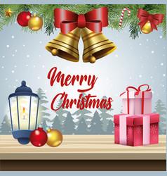 merry christmas card with kerosene lantern and vector image