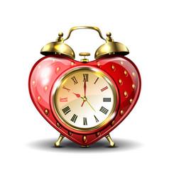 metal retro style alarm clock in strawberry form vector image vector image