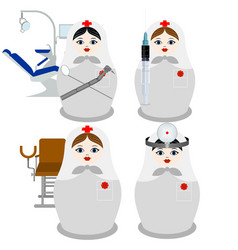 Nesting dolls doctors vector