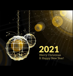 new years christmas balls on luminous golden vector image