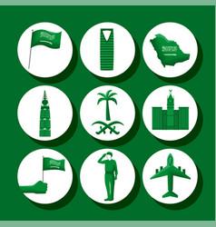 Nine saudi national day icons vector