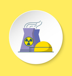 nuclear power plant icon in flat style on round vector image