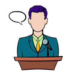 Orator speaking from tribune icon icon cartoon vector