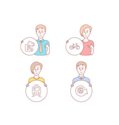 parking security train and bicycle icons world vector image