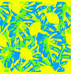 Pattern with lemon and tropical leaves vector