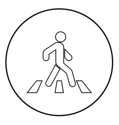 Pedestrian on zebra crossing icon black color vector