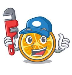 Plumber orange mascot cartoon style vector