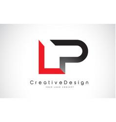 Red and black lp l p letter logo design creative vector