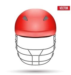 Red Cricket Helmet Front View vector