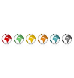 set 3d colorfull earth globe with shadow vector image