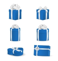 Set of blue gift boxes with white bows and ribbons vector image