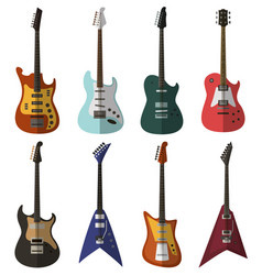 Set of bright electric guitars vector