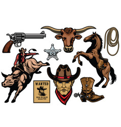 Set of cowboy objects vector