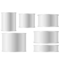 set of white tins can with plastic cap for baby vector image