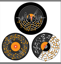 set vinyl record with music note vector image