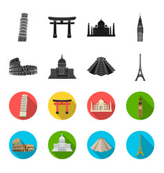 sights of different countries blackflet icons in vector image