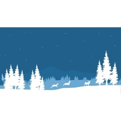 Silhouette of Christmas scenery deer vector