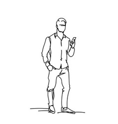 Sketch business man using smart phone doodle male vector