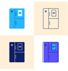 smart refrigerator icon set in flat and line vector image