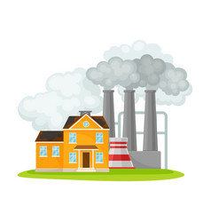 Smoke from industrial plant polluting city vector