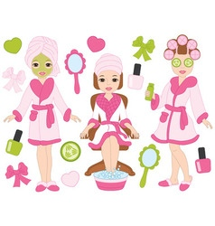 Spa girls set vector