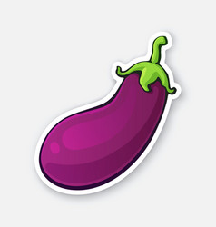 Sticker purple eggplant with green stem vector