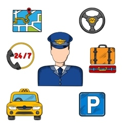 Taxi driver profession and service icons vector