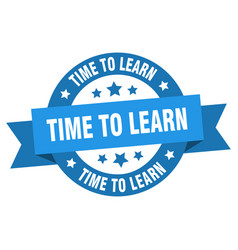time to learn ribbon time to learn round blue vector image