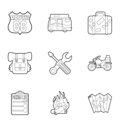 Vacation in forest icons set outline style vector image